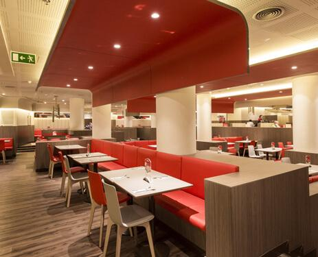 ...Reds, beiges and light wood are combined to create all-new modern, comfortable and bright locations.
